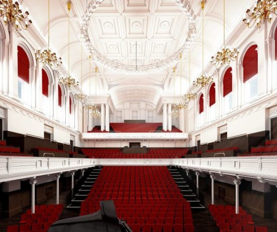 The Main Hall within Paisley Town Hall. It is a view from the stage out into the auditorium.